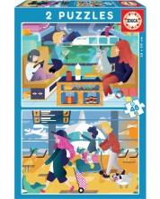Puzzle Educa de 2 x 48 piese - La aeroport si gara