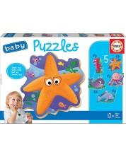 Puzzle pentru bebelus Educa 5 in 1 - Sea Animals