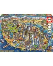 Puzzle Educa de 500 piese - Map of New York