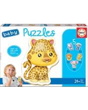 Puzzle pentru bebelusi Educa 5 in 1 - Animale salbatice