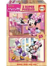 Puzzle Educa din 2 x 25 piese - Minnie Happy Helpers