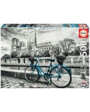Puzzle Educa din 500 de piese - Cu bicicleta in apropiere de Notre Dame