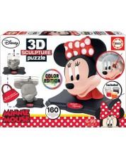 Puzzle-sculptura 3D Educa 160 piese - 3D Sculpture Puzzle Minnie, cu acuarele si pensula