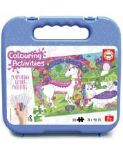 Puzzle de colorat Educa de 100 piese - Unicorns Glitter, cu 8 carioci