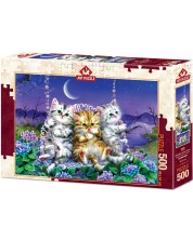 Puzzle Art Puzzle de 500 piese - Moonlight Swing Kittens