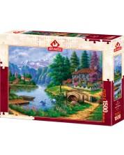 Puzzle  Art Puzzle de 1500 piese - Village By Lake