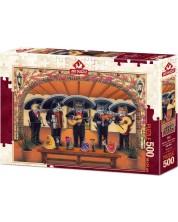 Puzzle Art Puzzle de 500 piese - Flamenco Meow Team