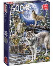 Puzzle Jumbo de 500 piese - Wolf Pack in Winter