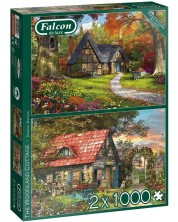 Puzzle Falcon din 2 x 1000 piese- The Woodland Cottages, Dominic Davison -1