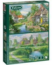 Puzzle Falcon de 2 x 500 piese - Riverside Cottages Falcon -1