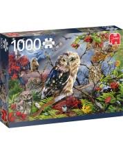 Puzzle Jumbo de 1000 piese - Owls in the Moonlight
