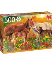 Puzzle umbo de 500 piese -  Horses in the Meadow