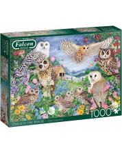 Puzzle Falcon de 1000 piese - Bufnite in padure, Claire Comerford -1