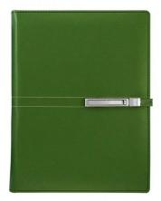 Agenda din piele Alicante Superior A5 - Verde inchis, cu inele si incuietoare -1