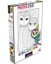 Puzzle de colorat Anatolian de 260 piese - Familia bufnite