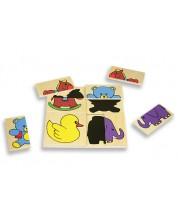 Puzzle din lemn Andreu toys - Umbre amuzante -1