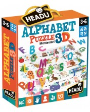 Puzzle educativ Headu Montessori - Alfabet, 3D -1
