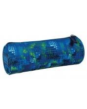 Penar scolar cilindric BackUP - Vis albastru-verde, cu un compartiment