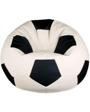 Fotoliu puf Barbaron - Minge de fotbal, alb cu negru -1