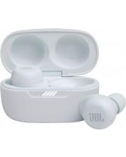 Casti wireless cu microfon JBL - Live Free NC+, ANC, TWS, albe