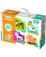 Puzzle pentru bebelusi Trefl 4 in 1 - Animale din ferma