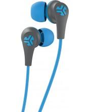 Casti wireless cu microfon JLab - JBuds Pro Signature, gri/albastre
