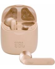 Casti wireless cu microfon JBL - T225 TWS, aurii