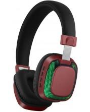 Casti wireless cu microfon Xmart - 07L, LED lights, rosu