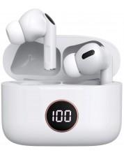 Casti wireless cu microfon Xmart - TWS-07, TWS, ANC, albe