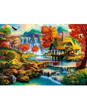 Puzzle  Bluebird de 1000 piese - Country House by the Water Fall, Art World