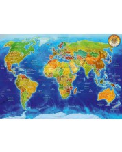 Puzzle Bluebird de 1000 piese - World Geo-Political Map, Adrian Chesterman