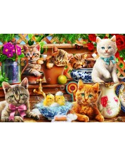Puzzle Bluebird de 100 piese - Kittens in the Potting Shed, Adrian Chesterman