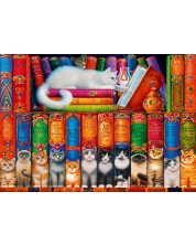Puzzle Bluebird de 1000 piese - Pisici pe raftul cu carti, Randal Spangler