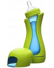 Biberon cu autoincalzire otel inoxidabil iiamo go,  Verde si albastru -1