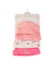 Set 3 caciulite bebe Cangaroo - Tibby, roz -1
