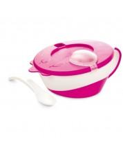 Castron cu lingurita Canpol, roz -1