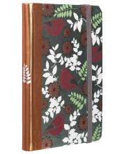 Carnetel cu elastic Carny - A6, 80 file, cardinale rosii si culoare bronz -1