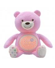 Lampa de veghe cu proietor Chicco - Ursulet de plus, roz -1