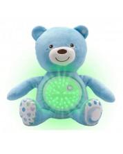 Lampa de veghe cu proietor Chicco - Ursulet de plus, albastru -1
