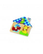 Puzzle pentru bebelusi din lemn - casuta Classic World -1