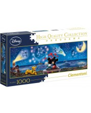 Puzzle panoramic Clementoni de 1000 piese - Mickey si Minnie Mouse