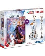 Puzzle Clementoni de 104 piese si model 3D - 3D Frozen 2