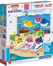 Puzzle Clementoni de 2 x 20 piese - Baby Shark
