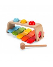 Jucarie de lemn 2 in 1 xilofon + cicanel Classic World -1