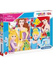 Puzzle  Clementoni de 104 piese - SuperColor Disney Princess