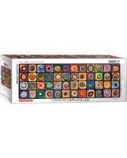 Puzzle panoramic Eurographics de 1000 piese - Stusiul culorilor patratelor, Vasili Kandinsky