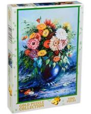 Puzzle Gold Puzzle de 500 piese - Flori in vaza albastra