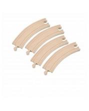 Accesoriu feroviar din lemn Woody - Sine curbate, 4 bucati x 17 cm -1