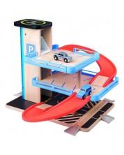 Parcare din lemn Woody - Cu lift si doua masinute -1