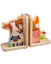 Suport din lemn pentru carti Bigjigs - Animalele din ferma -1
